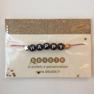 BRACELET HAPPY BOIS DE ROSE (PERLES NOIRES)