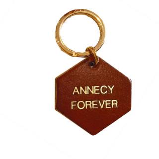 PORTE-CLES EN CUIR CAMEL ANNECY FOREVER