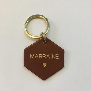 PORTE-CLES EN CUIR MARRAINE COEUR