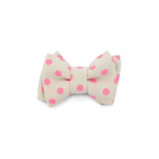 BARRETTE MINI NOEUD POIS ROSE FLUO