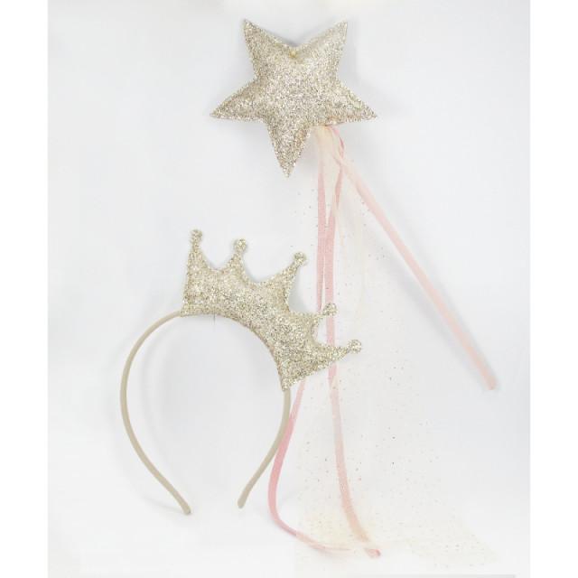 set baguette magique et couronne or