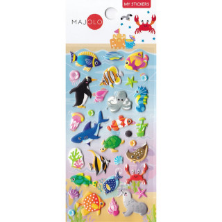 STICKERS 3D ANIMAUX MARINS CRABE