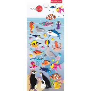 STICKERS 3D ANIMAUX MARINS POISSON CLOWN