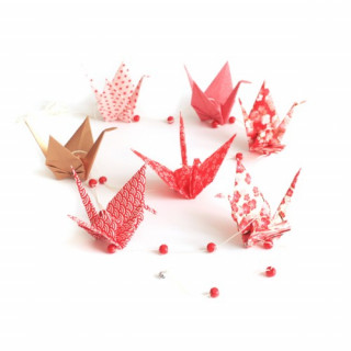 KIT GUIRLANDE DE GRUES EN ORIGAMI ROUGE