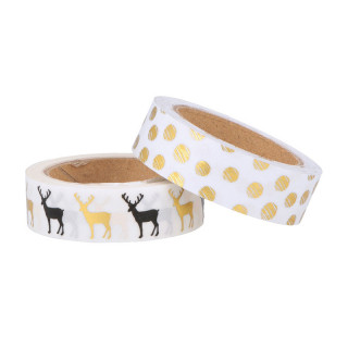 2 ROULEAUX MASKING TAPE OR RENNE ET POIS