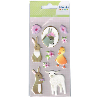 PLANCHE STICKERS HAPPY SPRING ANIMAUX