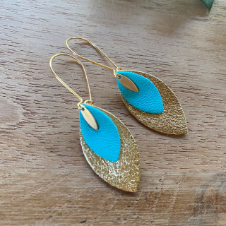 BOUCLES D'OREILLE CHARLINE CUIR TURQUOISE
