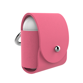 PORTE AIR PODS CUIR ROSE FUSHIA