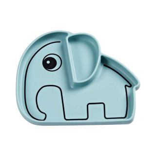 ASSIETTE ELEPHANT A COMPARTIMENT ANTIDERAPANTE BLEUE
