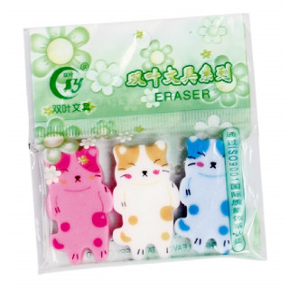 LOT DE 3 GOMMES CHAT