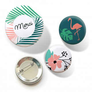 TRIO DE BADGES MERCI / TROPICAL