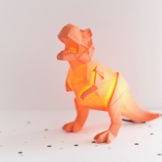 VEILLEUSE ORIGAMI DINOSAURE ORANGE