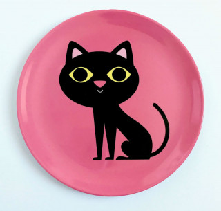 ASSIETTE CHAT ROSE