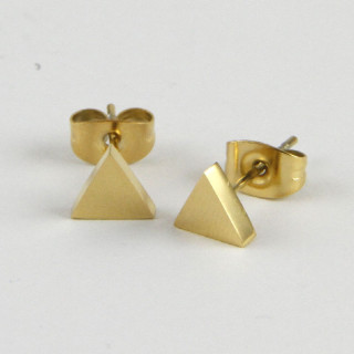 BOUCLES D OREILLES TRIANGLE OR JAUNE