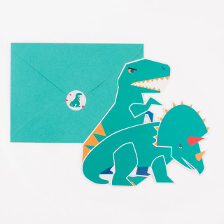 8 INVITATIONS DINOSAURE