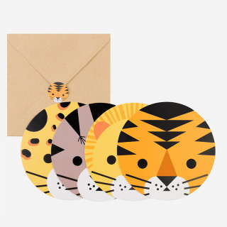 8 INVITATIONS MINI FELINS