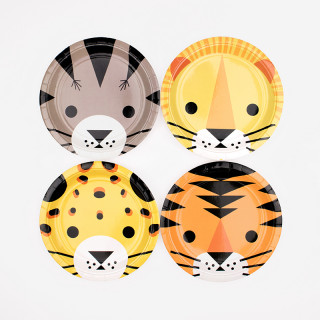 8 ASSIETTES MINI FELINS