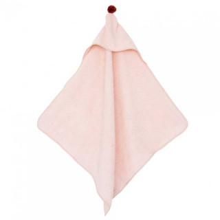 CAPE DE BAIN A POMPON ROSE PALE