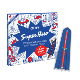 POSTER A COLORIER SUPER HEROS + STYLO