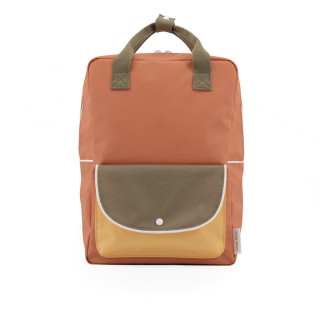 GRAND SAC A DOS POCHE ORANGE / KAKI / JAUNE